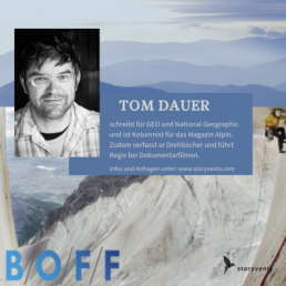 Vortrag Keynote B/O/F/F Tom Dauer Bayerisches Outdoor Filmfestival